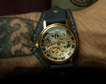 Mens Watch Skeleton, leather watch strap, steampunk watch, watches for men, watch mens, watch strap, man leather wrist watch , leather watch