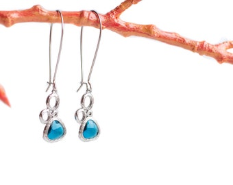 Cubic zirconia earrings, Blue cubic zirconia earrings, CZ earrings, Blue cz earrings, Long kidney wire earrings, Kidney ear wire earrings