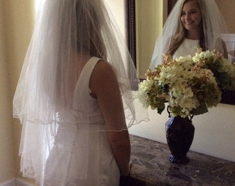 White wedding veil/vintage/squinens/beading/two tier/edged/white/veil/jewels/pearls