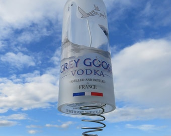 Recycled Grey Goose Vodka Hurricane Candle Light, Liquor Wind Chime Bottle, Wedding Light, Outdoor Light, Porch Light, Glass Art, Upcycle