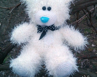 White Hand knitted Teddy Bear Valentines Day Gift with Love Gift for Her Valentine stuffed knitted toys Plush birthday gift MADE TO ORDER