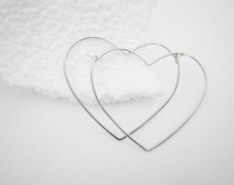 Heart Hoop Earrings / Organic Silver Heart Earrings / Valentines Day Jewelry / Love Jewelry / Christmas gift / E515a