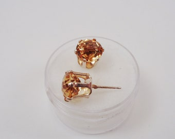 8mm. Round Natural Citrines with Checkerboard Tops in Silver Earrings