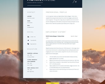 """Creative Resume Template + Cover Letter + CV Guide for MS Word   Instant Creative Resume Template Digital Download   """"Piccadilly"""""""