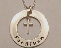 Forgiven Necklace ~ .925 Sterling Silver Hand Stamped Washer & Floating Cross ~ Christian Jewelry ~ Religious Jewelry