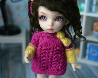 sweater for pukifee bjd dolls dress tunic with bow +FREE headband