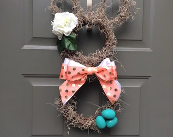 Easter wreath, easter bunny wreath, easter egg wreath, spring wreath, bunny wreath, easter decor, hydrangea wreath, pastel spring wreath