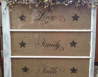 window frame with burlap quote