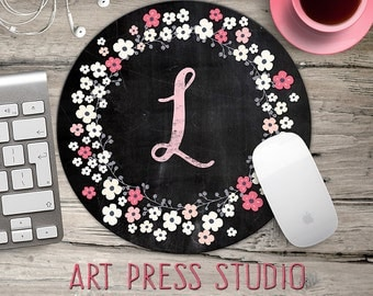 Chalkboard Initial Mouse pad, Pink Flowers Chalkboard Wreath Mouse Pad, Chalk Monogram and Pink Flowers Mousepad, Boho Chic Mouse Pad