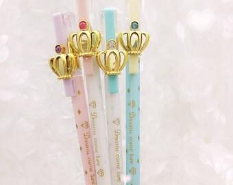 Gold CROWN GEL PEN - Fancy Crystal Rhinestone Gem Pen  Planner Pens / Teacher Gift / Life Planner Accessories Stationery