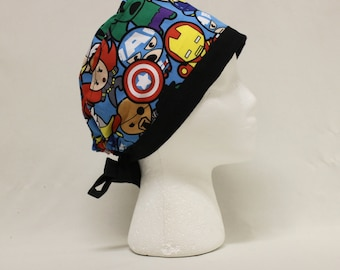 Super Deformed Kawaii Avengers Superheroes Surgical Scrub Cap Chemo Dental Hat