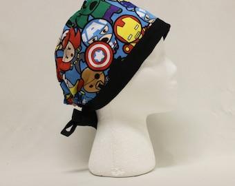 Super Deformed Kawaii Avengers Superheroes Surgical Scrub Cap Chemo Dental Hat