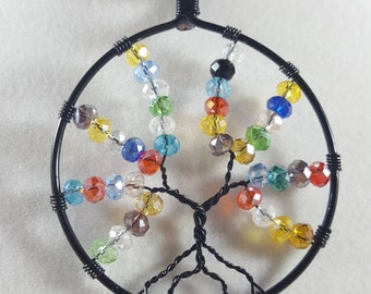 Tree-of-Life / Pendant Necklace / Wire wrapped / Handmade / Wire wrapped Jewelry / Rainbow / Tree of Life / Tree