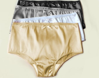 Satin Knickers Classics - Natural Waist with Briefs Style Leg Openings  French Cut Classic Panties - White, Grey, Black, Beige