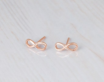 Infinity Stud Earrings, Rose Gold Stud Earrings, Tiny Rose Gold Studs, Eternity Earrings, Tiny Stud Earrings, Graduation Gift For Her Dainty