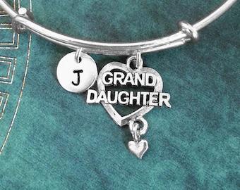 Granddaughter Bangle Grand Daughter Bracelet Granddaughter Heart Charm Bracelet Stackable Bangle Adjustable Bangle Personalized Bangle