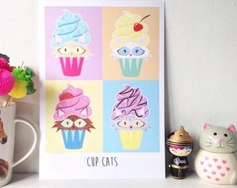 Cats, cupcakes wall decor . Contemporary pop art 'Cupcats' illustration print,  kitchen decor, framed wall art. House warming gift