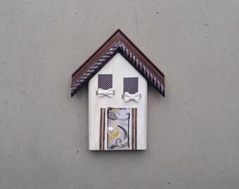 Put Burlap Bows on It/Folk Art House/One-of-a-Kind/Reclaimed Art/Mixed Media on Wood/Housewarming Gift/Home Decor