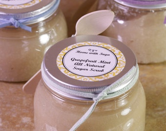 All Natural Grapefruit Mint Sugar Body Scrub - or choose another scent