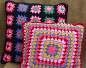 Granny Square THROW PILLOW, VINTAGE Decorative Throw Pillow 1970's