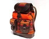 SALE 15% OFF* Ethnic Andean Handmade Brown Genuine Leather Aguayo (Bolivian Peruvian fabric) Backpack Bag
