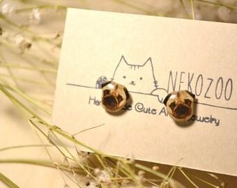 Pug earrings handmade Tiny jewelry with linen cotton bag