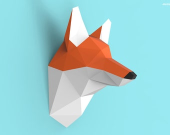 Fox Head Papercraft PDF Pack - 3D Paper Sculpture Template with Instructions - DIY Wall Decoration - Animal Trophy