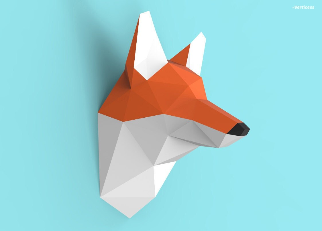 fox head papercraft pdf pack 3d paper sculpture template