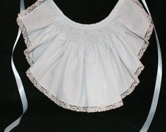 Handmade light blue smocked collar/bib