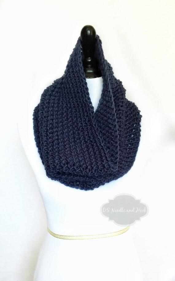 Blue Crochet Scarf, Crochet Cowl, Navy Infinity Scarf, Dark Blue Neck Warmer, Handmade Crochet Scarf, Blue Snood Scarf
