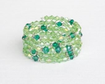 Green glass memory wire bracelet