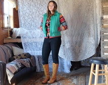 Vintage Retro 70s Bright Green Puffy Zip-Up Vest with Large Collar