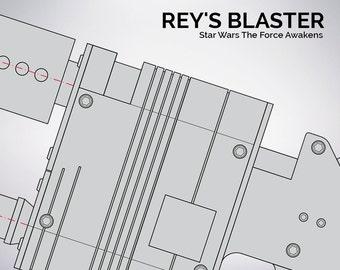 Star Wars The Force Awakens Rey's blaster blueprint 1:1 scale