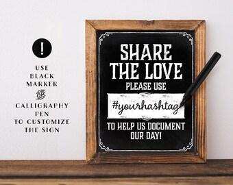 Chalkboard wedding hashtag sign printable. Social media wedding sign. Printable Share the love sign. Chalkboard wedding decor. Ptoto booth