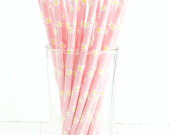 25 Pink and Yellow Daisy Paper Straws- These floral straws would make a great touch to a garden party, flower birthday, or shower