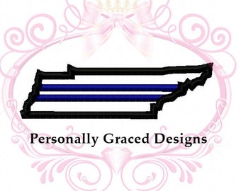 Instant Download Tennessee State Police Applique Thin Blue Line Embroidery Design 4 Sizes 4x4, 5x7, 6x10 Digital, Support Blue, Life Matters