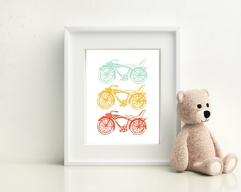 Bicycle Wall Print, Bike for Two - Available in Four Colors