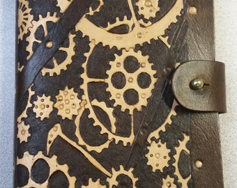 Steampunk Leather Notebook Cover