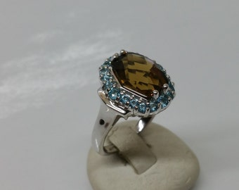 Ring Silver 925 Crystal stones cognac/turquoise SR659