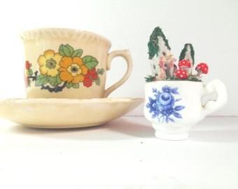 Tiny Teacup Fairy Garden, made in a Tiny Norfolk China Teacup