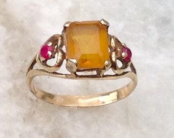 Gold Citrine Ring,Vintage Citrine Ring,Ruby Ring, Citrine Ruby Ring,Citrine Ring, 14k Citrine Ring, 14k Ruby Ring, Size 6 Ring