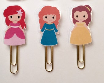 Princess Ariel Merida Belle Double Sided Planner Bookmark Clip - Made to Order