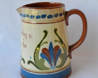 English Pottery Terracotta Jug Pitcher Creamer - a kindness to-day is worth six in the future