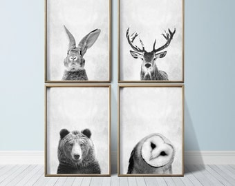 Nursery Wall Art Animal Print Art Woodland Nursery Decor Nursery Art Prints Nursery Prints Set Nursery Woodland Animals