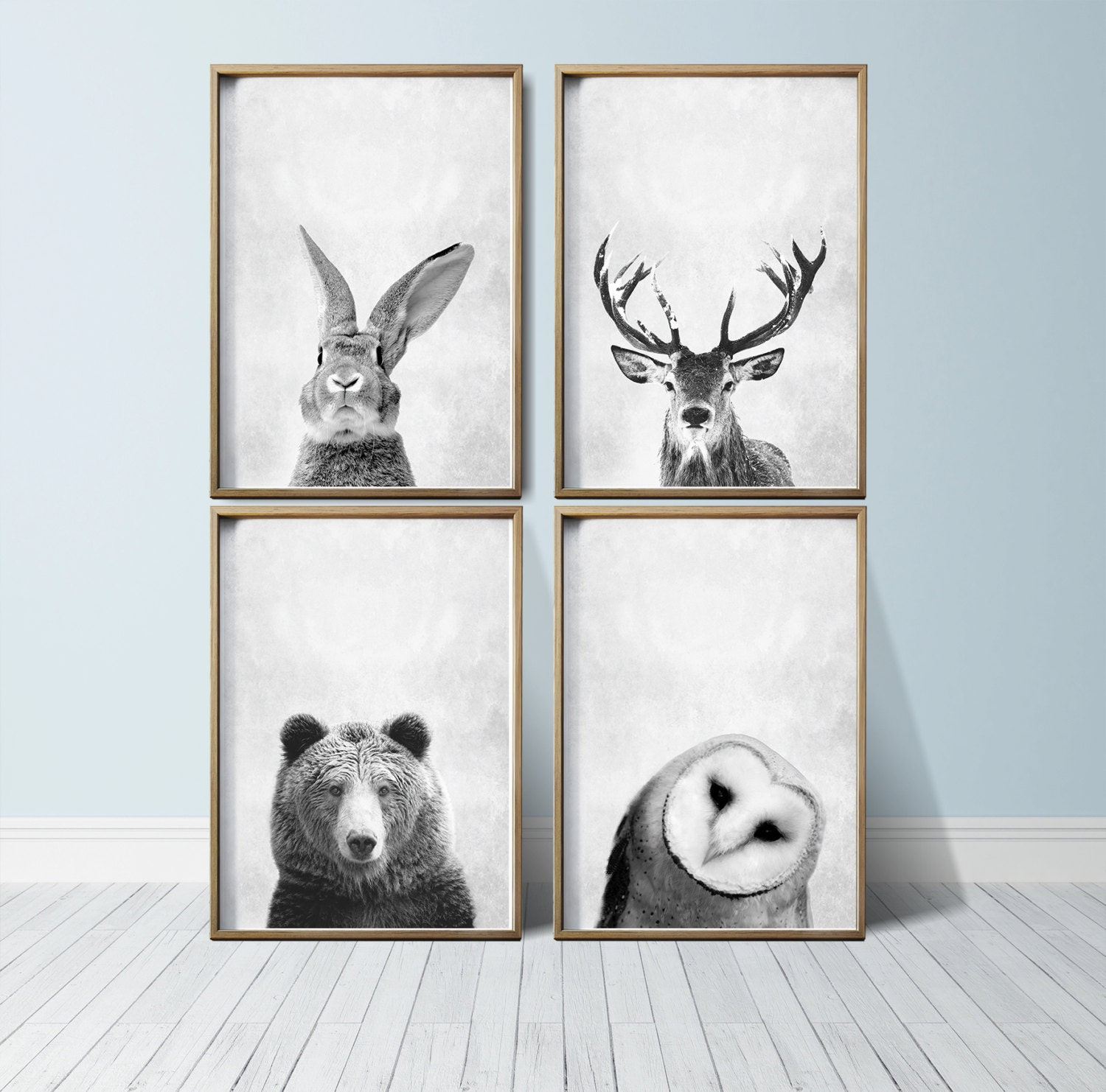 nursery wall art animal print art woodland nursery decor. Black Bedroom Furniture Sets. Home Design Ideas