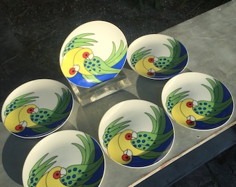 6 Pc. Vintage Fitz & Floyd Parrot Plates.