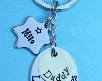 Personalised Fathers Day Gift | Dad/Daddy/Grandad/Gramps/Pops/Uncle KeyRing + 1 x Star Tags | Gift-Hand Stamped | Bespoke | UK