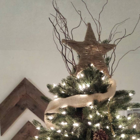 items similar to jute star rustic farmhouse christmas tree topper on etsy. Black Bedroom Furniture Sets. Home Design Ideas