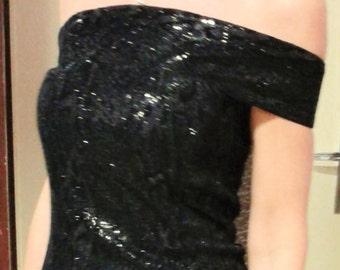 Black evening gown/Maxi dress black evening gown/Dress slit bustier sartorial//custom made