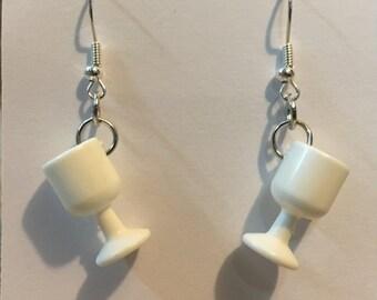 Barbie white plastic cup earrings